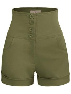 Women's Retro High Waist Buttons Front Short Pants With Pockets