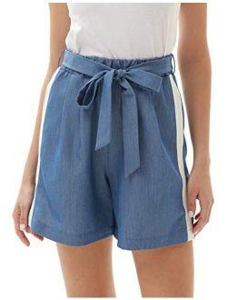 Women's Bowknot Elastic Waist Shorts Casual Comfy Stripes Summer Beach Shorts With Pockets
