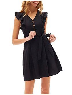 Women's Casual Summer Ruffle Cap Sleeve Cotton Dress V-neck Button Tie Wait A-line Midi Dress