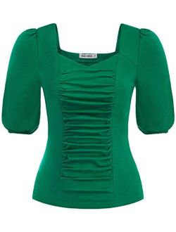 Womens V Neck Ruched Cotton Tops Puff Sleeve Blouse T-shirt