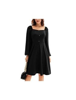 Women's Casual Square Neck Button Down A-line Summer Dress