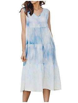 Wowen's Long Casual Midi Dress Loose Plain V-neck Ruffle Dress