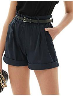 Women Casual Fold-up Leg Ruffle High Waist Belt Shorts With Pockets