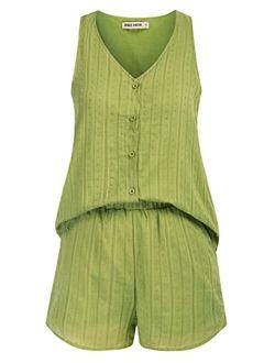 Womens Casual 2 Piece Cotton Outfit Short Romper Jumpsuit Button Loungewear Pj Set