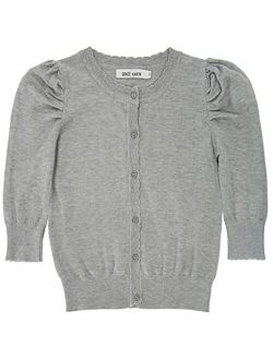Girls 3/4 Puff Sleeve Button Sweater Uniform Cardigans