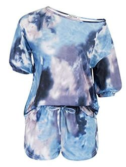 Womens Short Sleeve Pajamas Set 2 Piece Tie Dye Lounge Sets Outfit