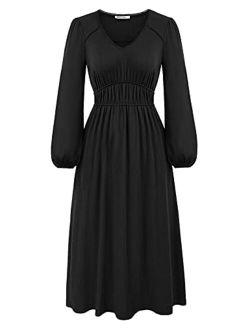Womens V Neck Casual Swing Dress Empire Waist Long Flowy Dresses