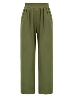 Women's Casual Work Cropped Pant Pocket High Waist Button Trouser Pants