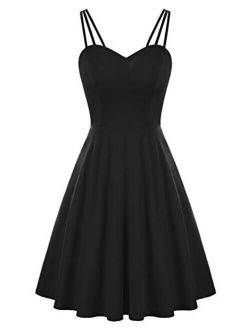 Women's Spaghetti Strap Dress V Neck Sleeveless Cocktail Dress Casual Swing A Line Club Party Dresses
