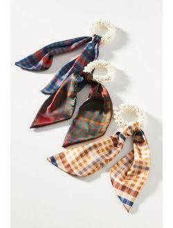 Plaid Embellished Scarf Scrunchie Set