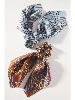 Animal-Printed Scarf Scrunchie Set