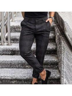 Men Joggers Plaid Pants Man Black Comfortable Pant Casual Streetwear Loose Trouser Japanese Trendy Pants Polyester Pencil Pants