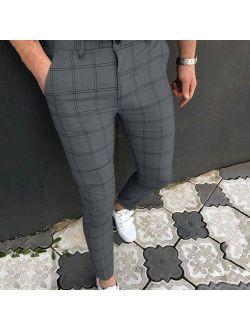 Plaid Men Pants Skinny Pants Men's Clothing Pantalon Trousers Pencil Pants Male Ropa Hombre Streetwear Smart Casual Pants