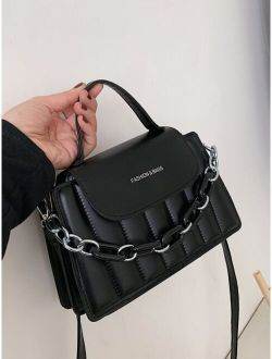 Chain Decor Quilted Satchel Bag