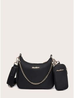 Metal Letter Patch Satchel Bag With Inner Pouch