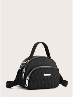 Zipper Quilted Satchel Bag