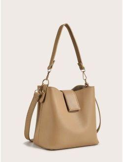 Minimalist Snap Boston Bucket Bag