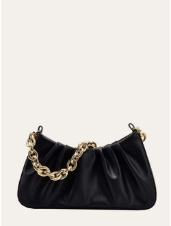 Minimalist Ruched Baguette Bag