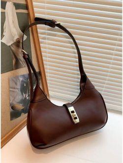 Push Lock Shoulder Baguette Bag