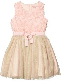 Floral Petal Bodice Dress w/ Mesh (Big Kids)