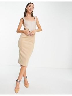 linen corset pencil midi dress in stone