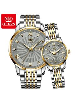 Couple Watch OELVS  Brand Luxury Automatic Mechanical Watch Stainless Steel Waterproof Clock relogio masculino couple gift 6630