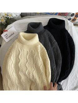 Turtleneck Sweater Men High neck Pullovers Sweater Wool Sweater Solid Color Men Fashion Clothing Autumn Tops Coarse Wool Knit