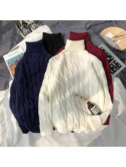 Mens Plus Size 6xl 7xl Sweater for Korean Fashion Trends Knit Clothes Twist Pattern Jumper Autumn Turtleneck Pullover Streetwear