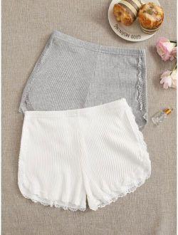 Ribbed Lace Trim Shorts Set - 2 Pack