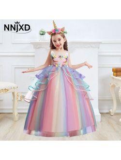 Kids Unicorn Dress for Girls Flower Appliques Ball Gown Little Girl Princess Dresses Elegant Party Costumes Children Clothing