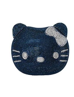 Hello Kitty Cat Crystal Clutch Couture Special Occasion Holiday Party Evening Bag Navy Blue Silver
