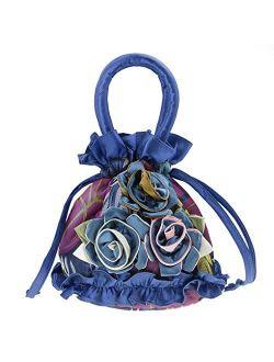 Small Satin Rose Flower Wristlet Cute Purse Wedding Evening Bag for Women Flower Girl Clutch Purse Pouch