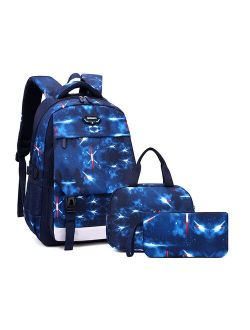 Large School Backpack for Boys Elementary and Middle School Water Resistant Teens Bookbag Set 3 Pcs Fashion Kids School Bags