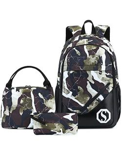 CAMTOP School Backpack Boys Girls Kids School Bookbag Set Student Backpack with Lunch Box and Pencil Case
