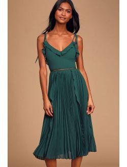Never a Dull Moment Emerald Green Tie-Strap Pleated Midi Dress