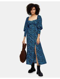 milkmaid midi dress in blue