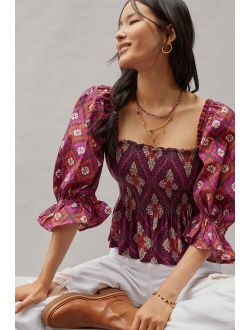 Conditions Apply Smocked Sweetheart Blouse