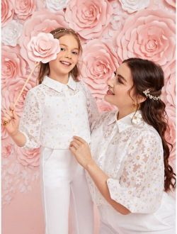 Girls Collared Appliques Organza 1 Blouse With 1 Camisole