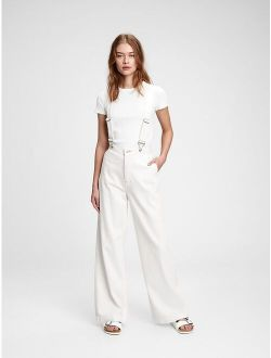 Wide-Leg Suspender Jeans With Washwell™