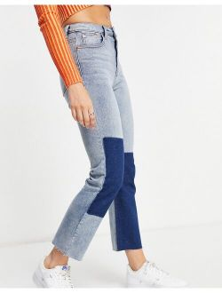 Signature 8 patchwork denim bootcut jean in mid wash