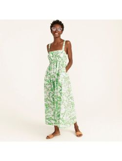Gathered tank midi dress in lime cherry blossoms