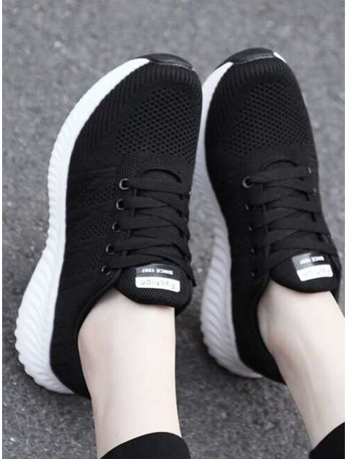 Shein Minimalist Lace Up Front Running Shoes
