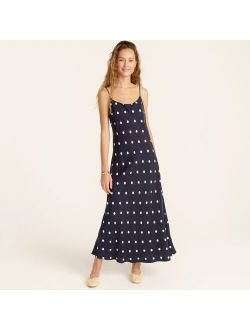 Eco cupro slip dress in dots