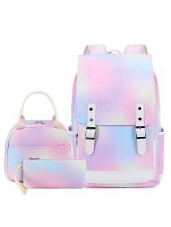 Girls Backpack for School Rainbow 15.6'' Laptop Kids Bookbag Teen Girls School Bag with Lunch Box for Elementary Middle School