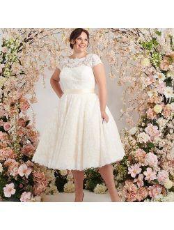 Plus Size Wedding Dresses 2021 Short Sleeves Champagne Elegant Tea-Length Bridal Gown Lace Bride Dress Big Woman Custom Size