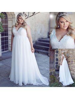 Chiffon Applique Lace Plus Size Beach Wedding Dress Corset Back White Empire Bridal Gown Long 26W robe de soiree longue