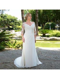 Plus Size Wedding Dress 2021 Chiffon Pleats Lace Appliques Beaded Half Sleeves Elegant Custom made Boho Bridal Dress