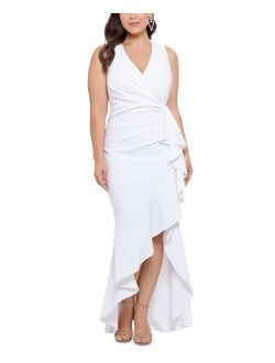 Plus Size V-Neck Ruffled Gown