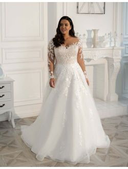 2021 New Plus Size Wedding Dresses Long Sleeves Sweep Train V-Neck A-line Custom Made Lace Appliques Bridal Gowns Robe De Mariee