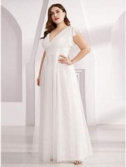 Women's Double V-neck Floral Lace Plus Size Evening Dress 0857-pz